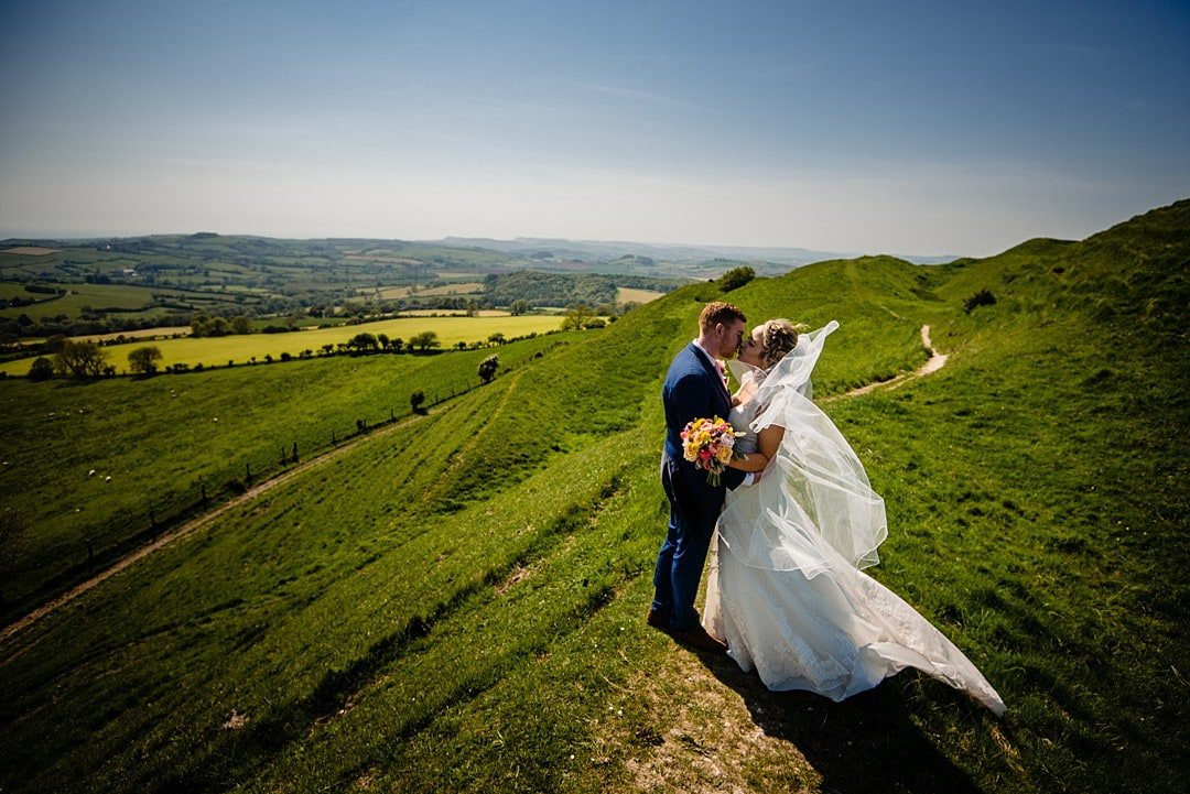 couple portrait on top of the hill in devon