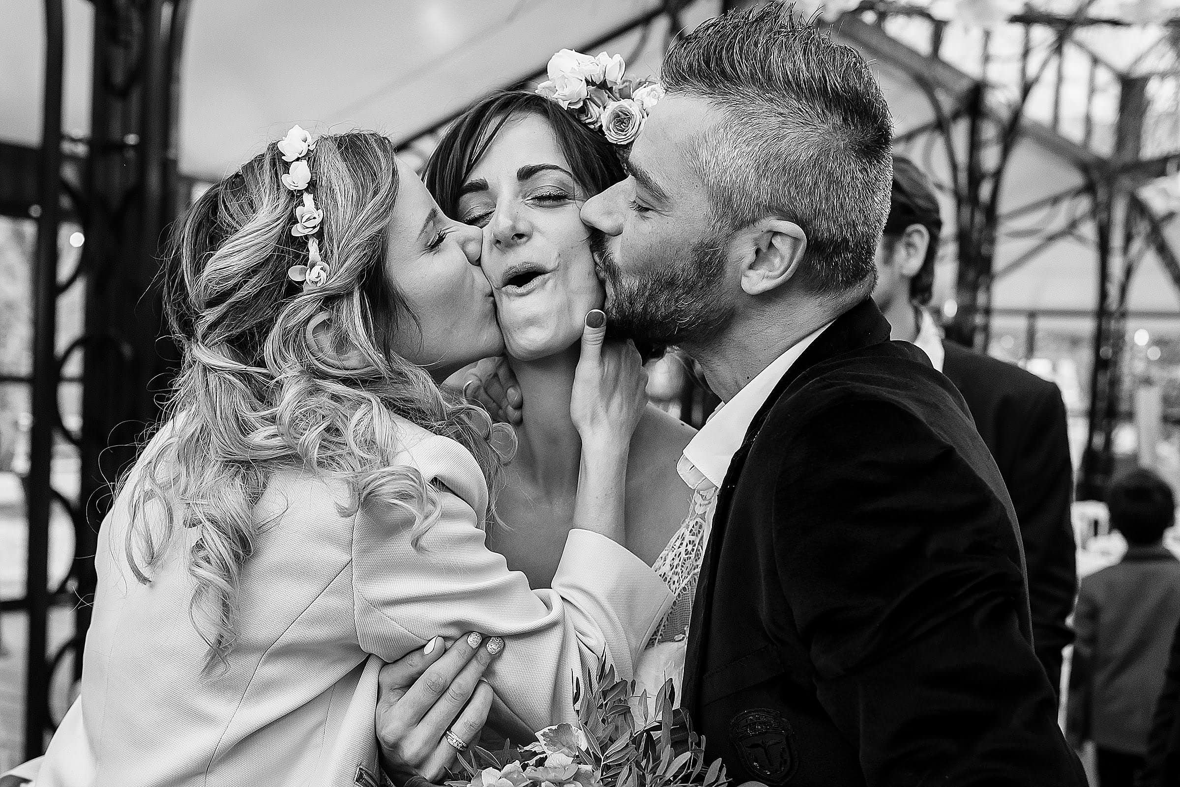 guests kissing the bride during wedding reception provence