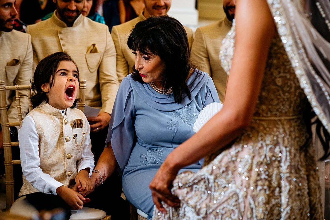 Syon Park Wedding Photography child yawning during the ceremony at Syon House