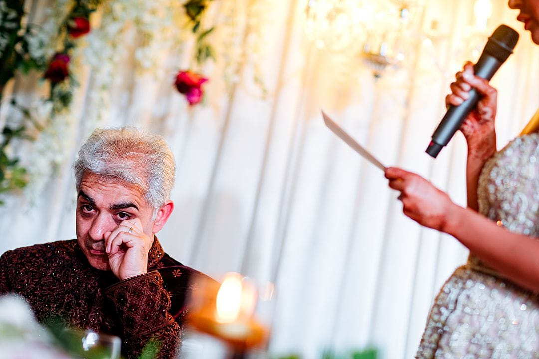 emotion father of the bride during bride's speech at syon park hilton