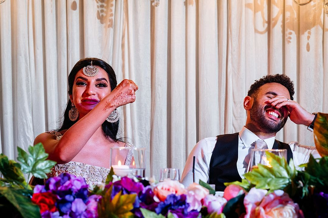 bride and groom's opposing reactions to the bestmen's speech at syon park hilton