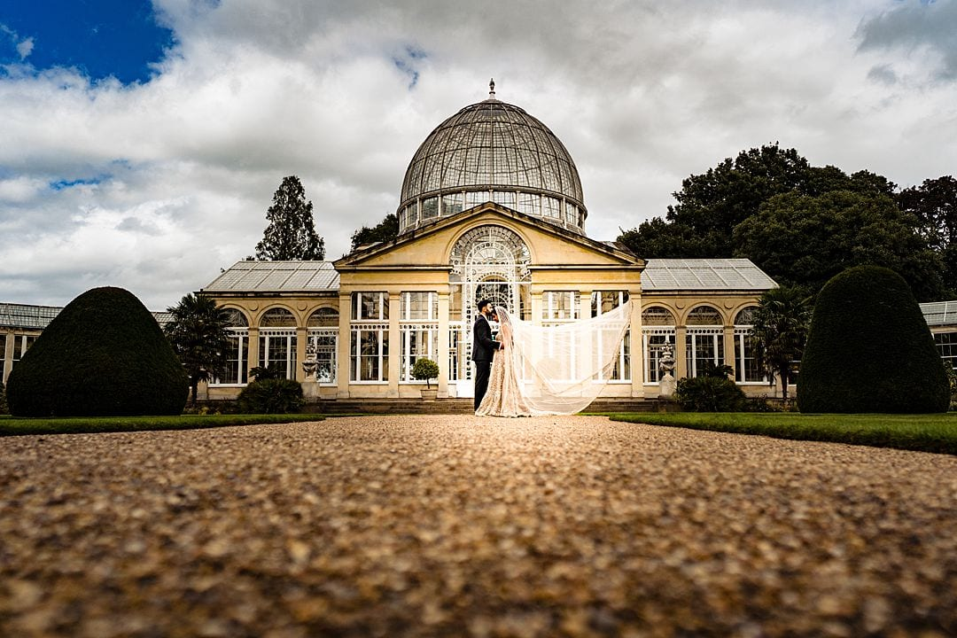 Syon Park Wedding Photography couple portrait outside the Great Conservatory Syon House