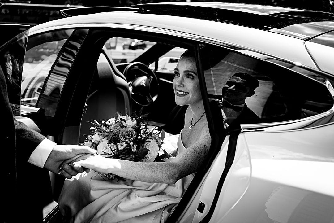 best wedding photography surrey 2019 bride and groom arriving at Moor Park